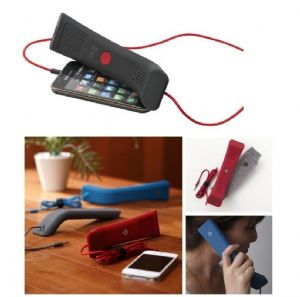 Black-Red Handset Soft Feel Mobile Phone Computer iPhone iPad Laptop Voip Skype